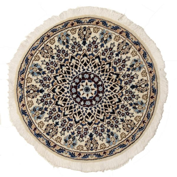 Persian Round Nian Rug with silk and wool.