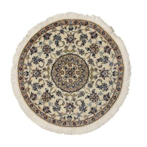Persian Round rug with silk and wool