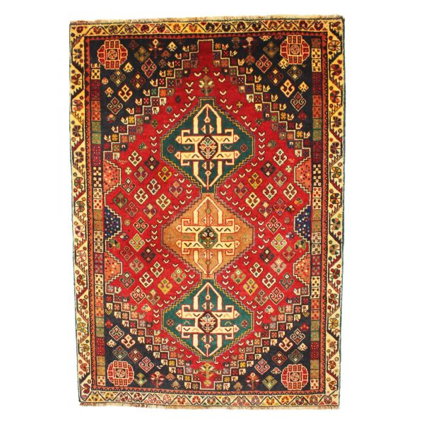 Persian Qashqai rug with Fine soft wool and three small medallions