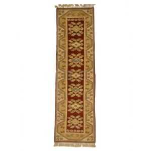 Turkish Milas runner with gold and burnt orange Ruuner . Wool on Wool