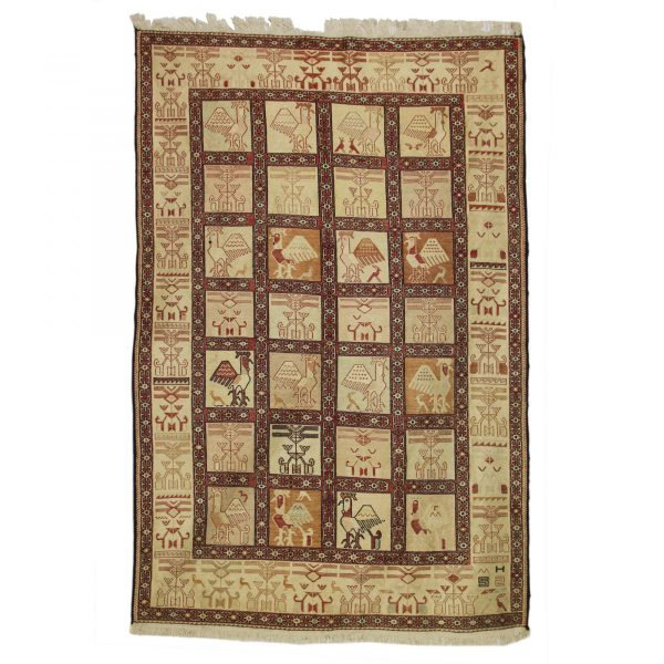 Persian Silk Sumack rug with tile design