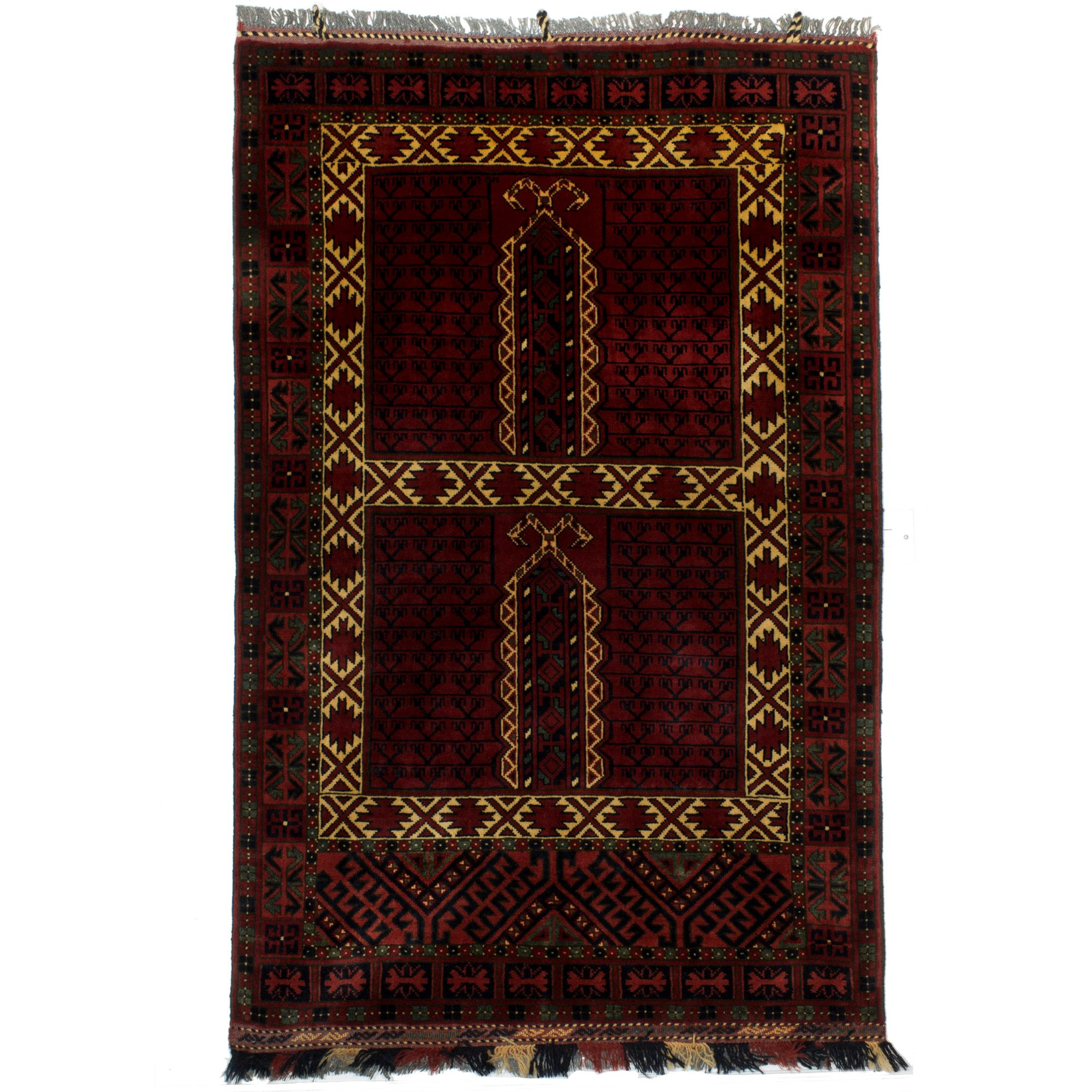 Afghanistan Hatchli Rug With Two Large Square And Dark Red Blue Colours