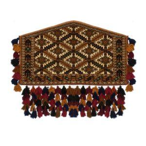 Persian Turkoman Azmalik Rug with wool tinsel as decorations.