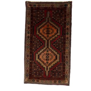 Persian Hamadan Rug with two medallion center .