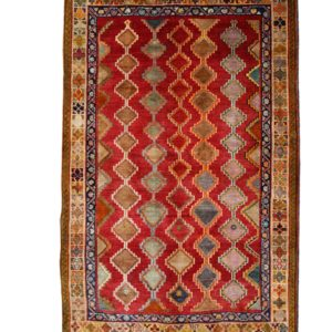 Persian qashqai rug wool on wool , with allover diamond shapes.