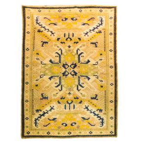 Turkish Azeri Rug with soft yellow , wool on wool rug