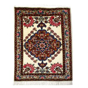 Persian BAhtiari rug with central medallion motif,. Cream colours center with pinks and blue.