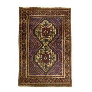 Persian Afshar rug with two medallion. Soft colour with boteh motifs allover .