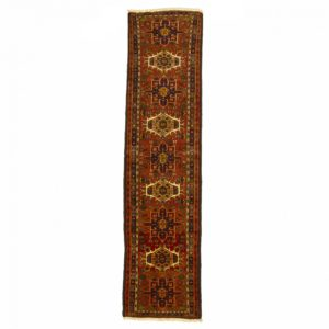 Persian Karajea Runner with burnt red and cream medallion