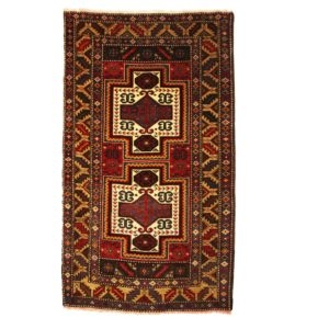 Turkish Taspniar rug with central medallions and wool on wool.
