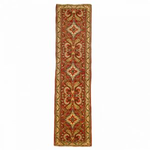Persian Roodbar Runner with Allover design and motif. Gold and Light red colour Wool.