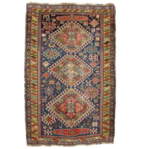 Antique Shriven Rug , from South Caucasian vegetable dye. Has three medallion and Blue colour and Yellow border.