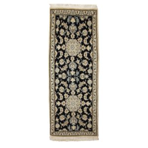 Persian Nain Runner with Blue and White Motifs.