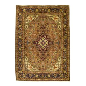 Persian Tabriz rug with Geometric Design and soft wool with soft colours.