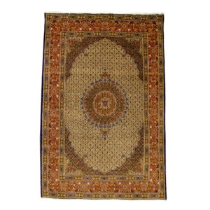 Persian Moud rug with floral motif of Fish designs.