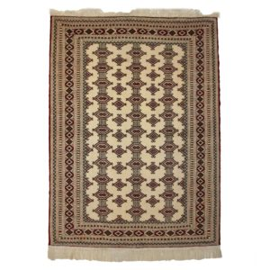 Persian Turkoman white background Rug with Gul design motifs.