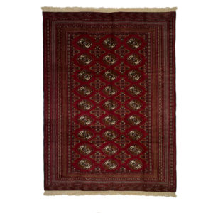 Persian Turkoman Rug with raw of Guls . Red and cream colours , wool on wool.