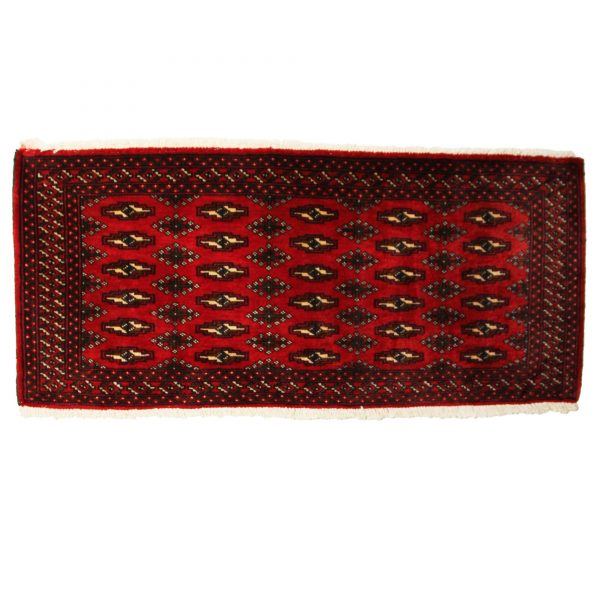 Persian Narrow Turkoman mat. Wool on Cotton with Gul motifs.