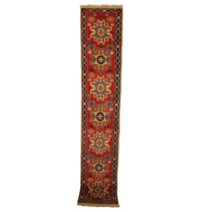 Turkish Shriven Runner with Several Medallion Red and Blue