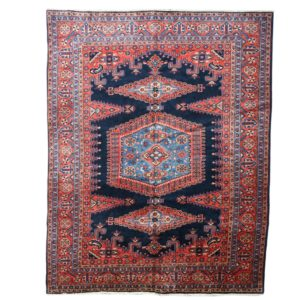 Persian Vise Carpet, Handmade with Navy Background