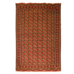 Persian Fine Turkoman Rug with finely woven Gul motif