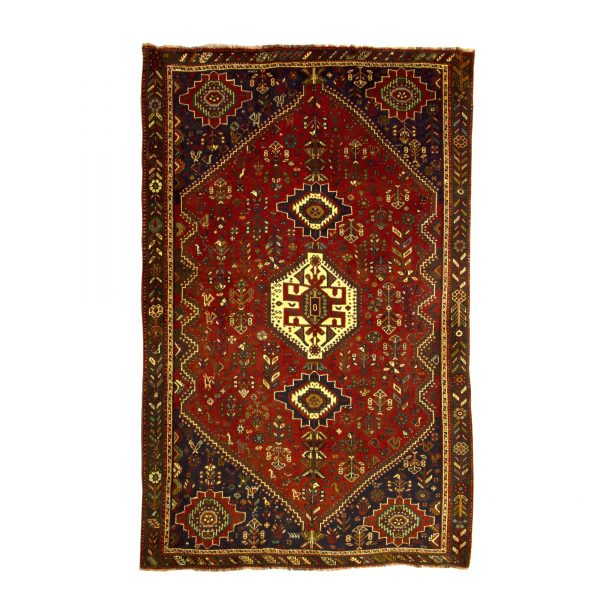 Persian Qashqai Rug with Central medallion of cream . wool on w