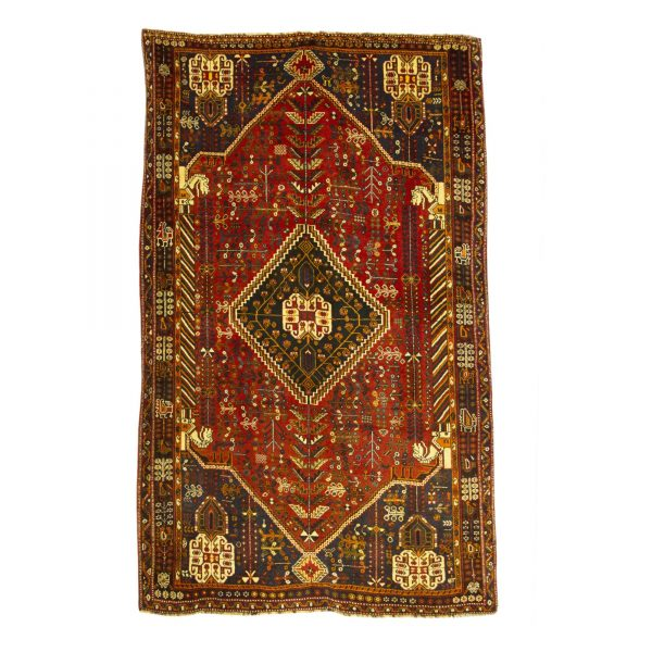 Persian Qashqai rug with wool on wool .