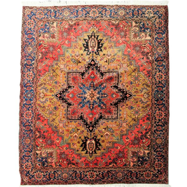 Persian Heriz Carpet unusual Yellow and red colour centre carpet