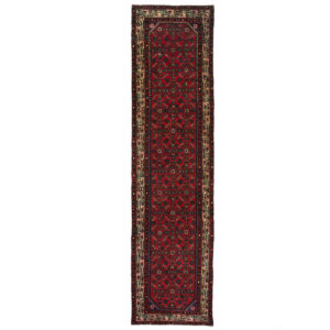 Persian Hossinabad Long runner with red background and cream border