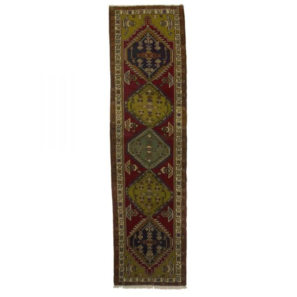 Persian Ardabil Runner with Dark yellow and dark red dye.
