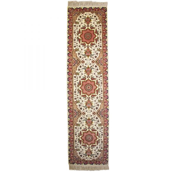 Persian Fine cream Tabriz Runner with silk and wool material.