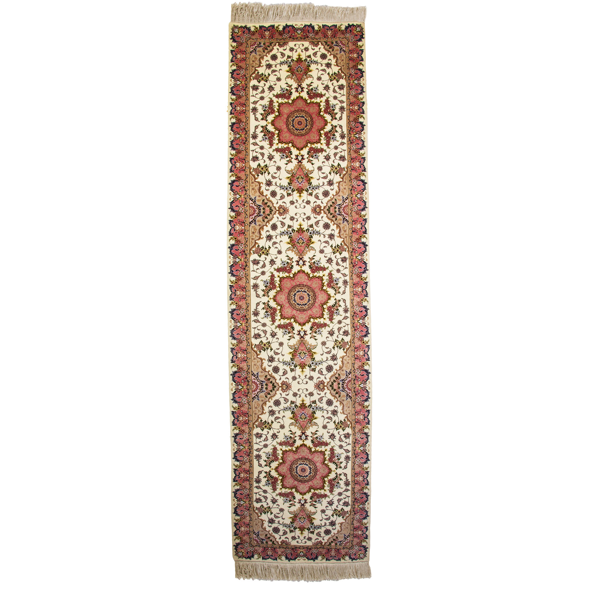 Persian Fine Cream Tabriz Runner With Silk And Wool Material