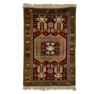 Persian Turkoman Rug with silk and wool.