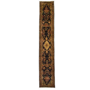 Persan Hamadan runner with bird design and very long and fine wool