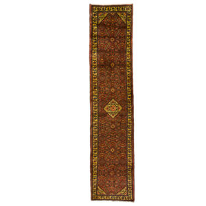 Persian Hossinabad runner with small medallion and cream border