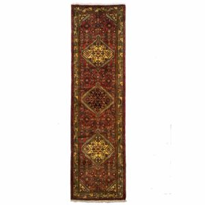 Persian Tajabad long Runner with three centre motifs with red background