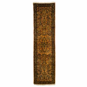 Persian mehraban Runner with gold and brown colour floral design runner