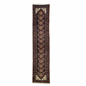 Persian Narrow Purple Runner with animal motifs.