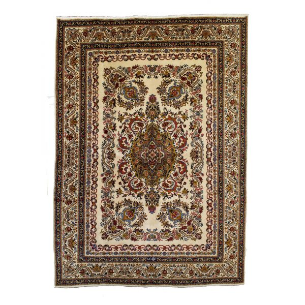 Persian Tabriz cream background and signed