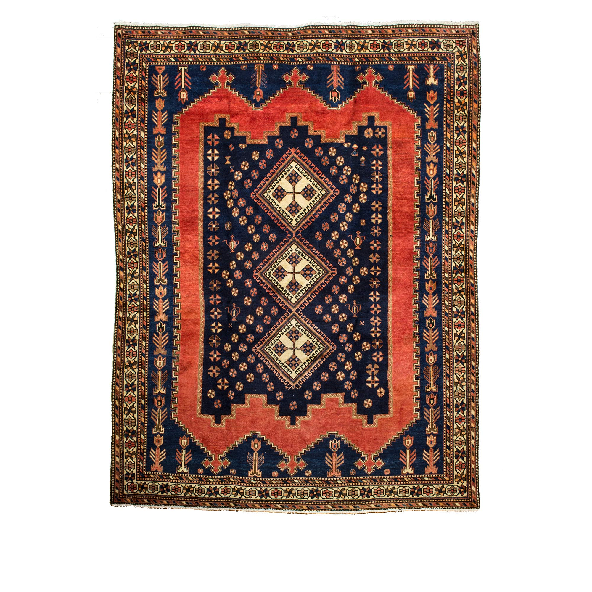 Persian Sirjan Rug With Red And Dark Blue Dye