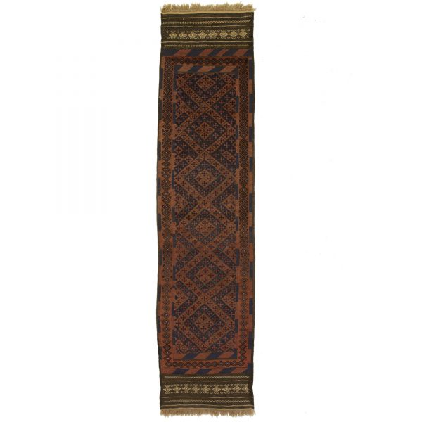 Afghan flat and woven runner. Dark colour with small motif.