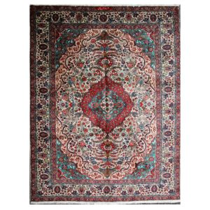 Persian Tabriz Rug with signed by the weaver. Soft wool with cream background.