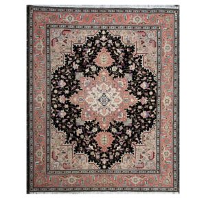 Persian Tabriz with silk highlight with geometric design. Black and pink colours.