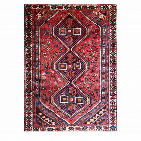 Persian Qashaqi rug , wool on wool with three medallion center.
