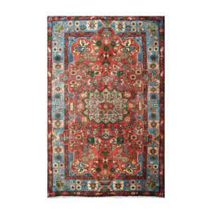 Persian Geometric floral Design with light blue and light orange colours.
