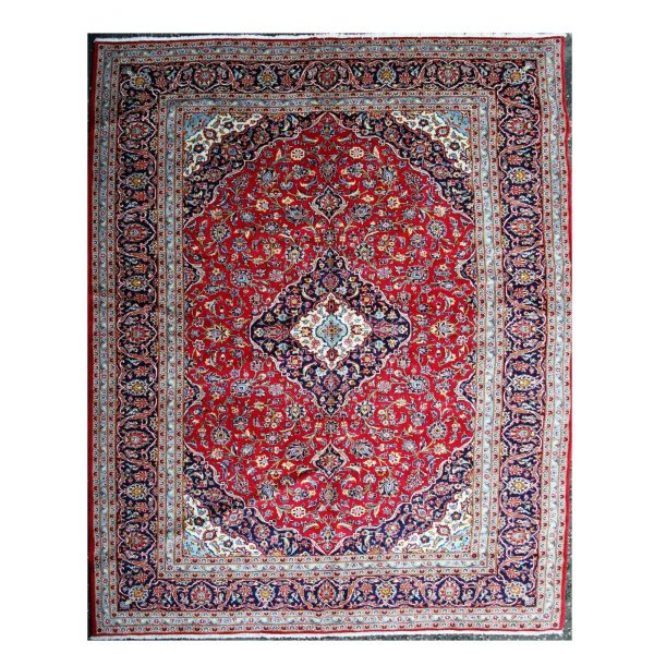 Persian Red Kashan Carpet with Blue border.