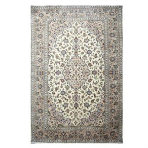 Persian Cream Kashan Rug with Floral Medallion centre