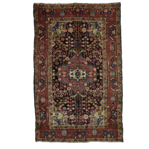 Persian Hamadan Rug with Navy and burnt orange colours.