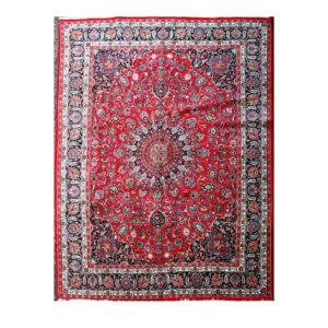 Meshad Carpet with Red and blue. Handmade with Vegetable Dye