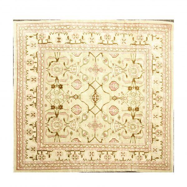 Turkish Square Ushak carpet with vegetable dye.